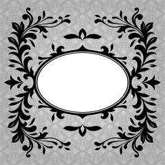 Antique frame border on a grey background