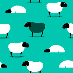 Black sheep amongst white sheep tile background
