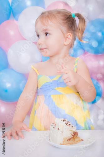 sweet little girl celebrating