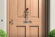 Holz-Haustür mit Rose
