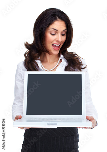 Business woman with laptop computer.