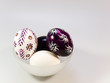 Painted easter eggs in glass bowl