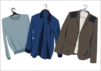men's clothing on hangers