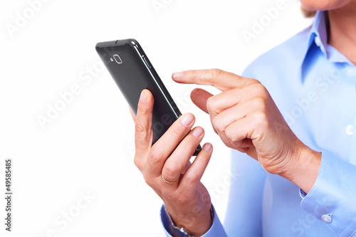 Hands of woman with a smartphone.
