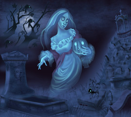 Illustration of a ghost on Halloween