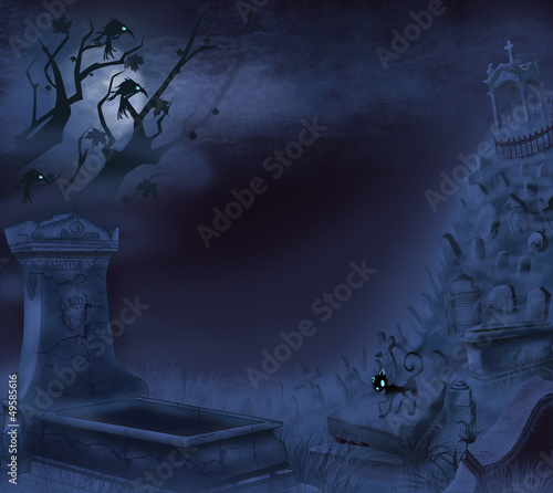 Mystical night cemetery on Halloween