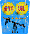 vintage oil and gas advertising sign, vector illustration