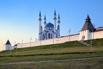Kazan Kremlin with Qolsharif Mosque at sunset, Russia