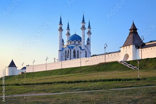 Kazan Kremlin with Qolsharif Mosque at sunset, Russia