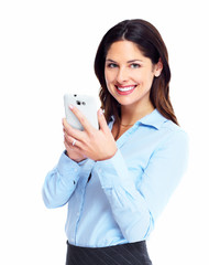 Happy business woman with cell phone.