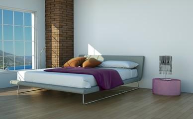 Wohndesign - modernes Schlafzimmer seitlich