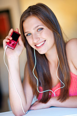 teen girl listen music