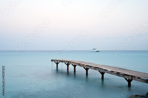 Jetty in the mediterranean sea early in the morning
