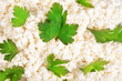 Fresh cottage cheese (curd) heap with parsley, isolated on white