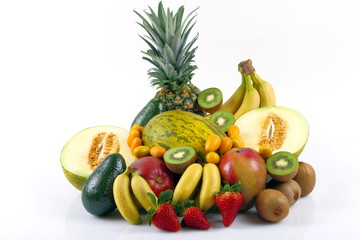 Frutta esotica con melone verde e fragole