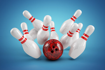 Bowling Strike blau radialer Verlauf