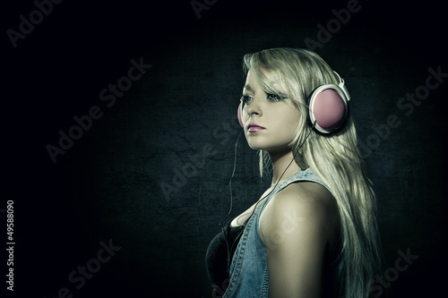 Blonde Sexy woman with headphones