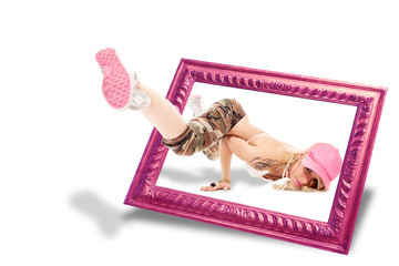 3d Illusion of female dancer popping outside of a frame