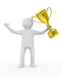 winner with gold cup on white background. Isolated 3D image