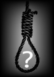 Old rope with hangman's noose with question