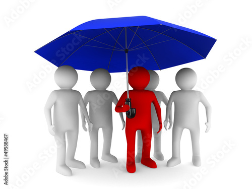 man with blue umbrella on white background. Isolated 3D image