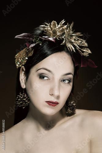 Beauty portrait of brunettefema le with luxurious Hair Style mak