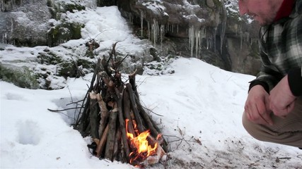 Tourists travel in winter-bonfire