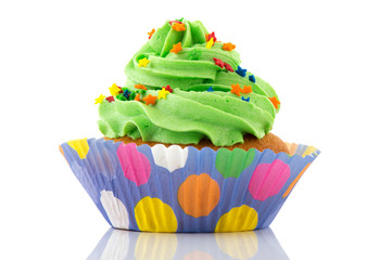 Green and purple cupcake
