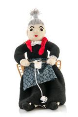hand knitted grandma knitting