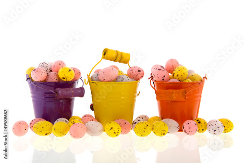 Buckets with easter eggs