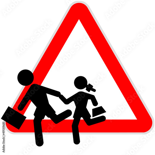 Danger sign - Children escaping from school