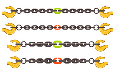 Vector illustration set of chains - weak or strong link concept