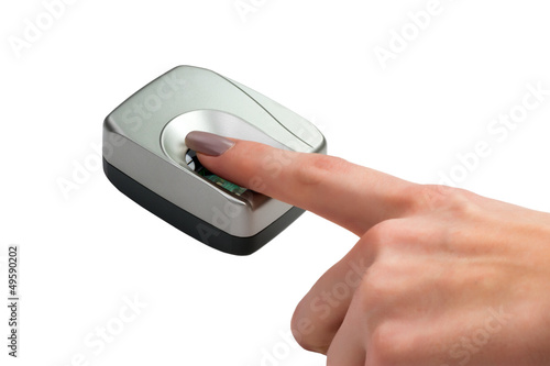 Finger on biometric scanner isolated on white