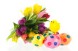 Painted easter eggs with flowers and chick