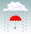 Vector umbrella and rain drops