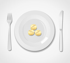 Diet concept. Three tablets on a plate