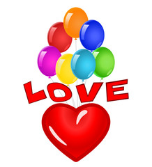 Love heart flying with colorful balloons