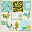 Scrapbook Design Elements - Vintage Rooster and Flowers