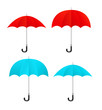 Set of vector red, blue umbrellas