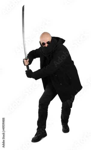Warrior in black with katana samurai sword