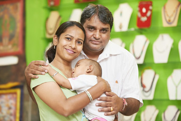 Indian family woman man and child boy