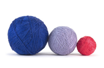 Balls of yarn isolated on white