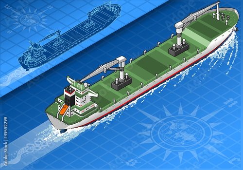 Isometric cargo ship