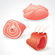Raw Meat, Gammon and Chicken. Vector Clipart