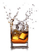 whiskey splash with ice cubes isolated on white - 49592876