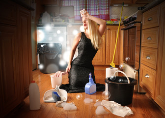 Beauty Glamour Girl Cleaning House