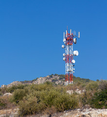 Telecommunication tower on a hill
