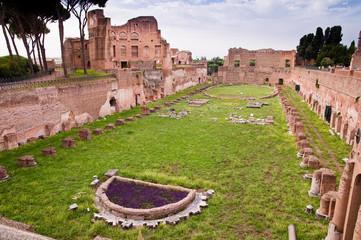 Palatine stadium ruins in palatine hill at Rome