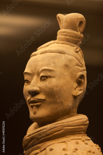 Aluminium Xian Terracotta warrior in close up
