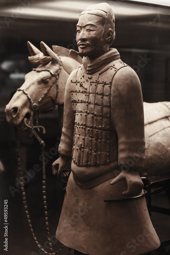 Aluminium Xian Terracotta warrior with horse, China